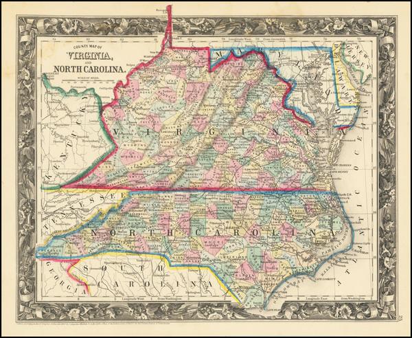 20-Virginia and North Carolina Map By Samuel Augustus Mitchell Jr.