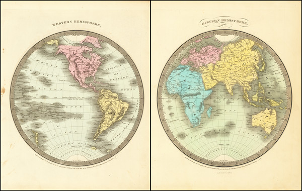 37-World, Eastern Hemisphere and Western Hemisphere Map By Anthony Finley