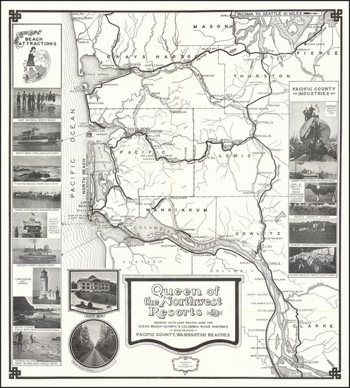 38-Oregon, Washington and Pictorial Maps Map By Ed Kendall