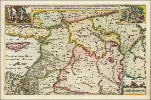 64-Cyprus, Middle East and Holy Land Map By Claes Janszoon Visscher