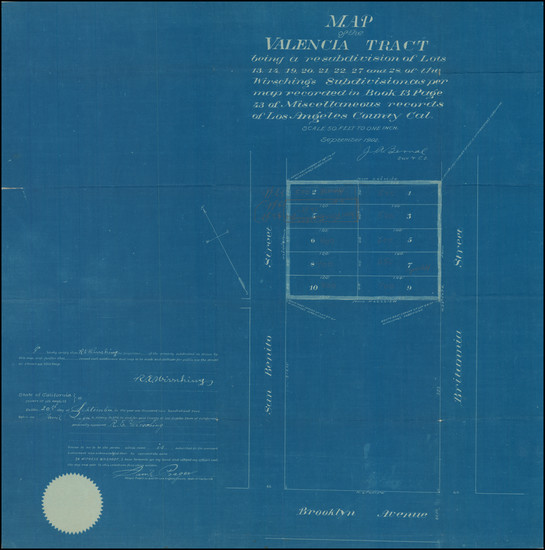 71-Los Angeles Map By J. A. Bernal