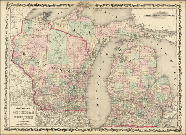91-Michigan and Wisconsin Map By Alvin Jewett Johnson  &  Ross C. Browning