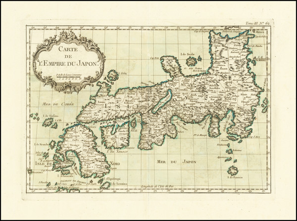 50-Japan Map By Jacques Nicolas Bellin