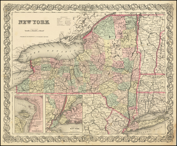 9-New York State Map By Joseph Hutchins Colton