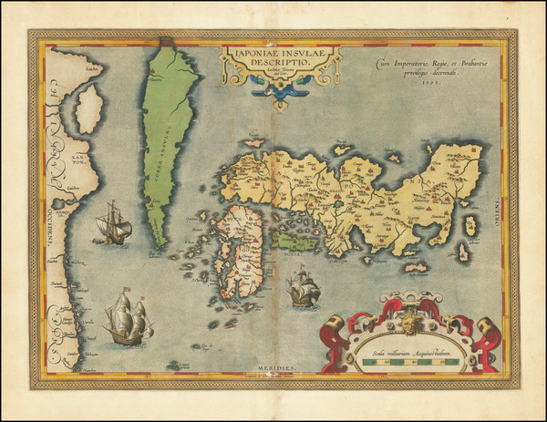 16-Japan and Korea Map By Abraham Ortelius