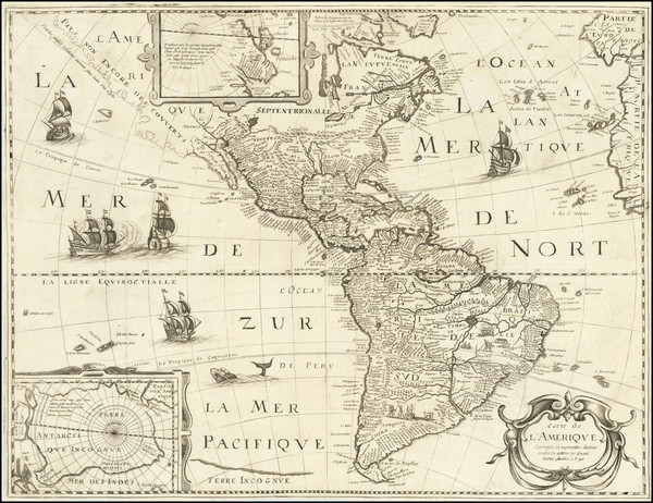 91-Alaska, South America and America Map By Petrus Bertius / Michel Van Lochem