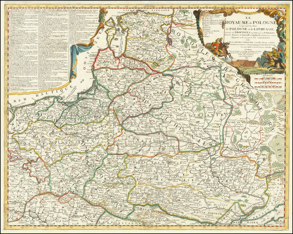 50-Poland, Ukraine and Baltic Countries Map By Jean-Baptiste Nolin