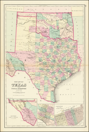 75-Texas and Oklahoma & Indian Territory Map By O.W. Gray