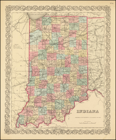 77-Indiana Map By Joseph Hutchins Colton