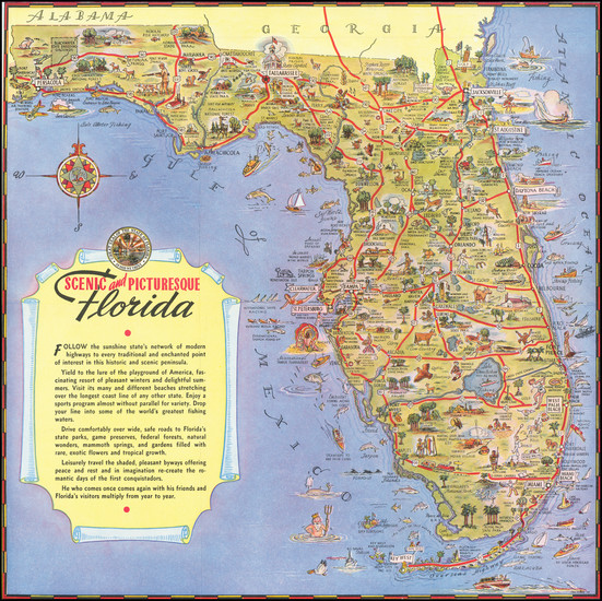 90-Florida and Pictorial Maps Map By George  Way