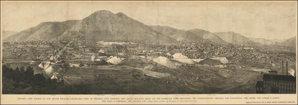 68-Nevada Map By Carleton E. Watkins / Frank Leslie