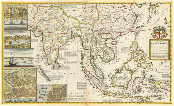 59-Indian Ocean, China, India, Southeast Asia, Philippines and Indonesia Map By Herman Moll