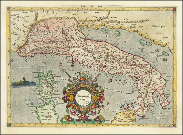 70-Italy Map By Gerard Mercator