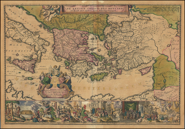 27-Mediterranean, Cyprus, Holy Land and Greece Map By Romeyn De Hooghe / Jacob Lindenberg