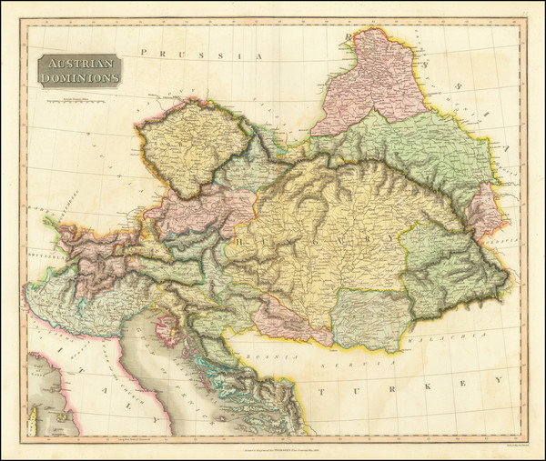 14-Austria, Hungary, Czech Republic & Slovakia, Balkans and Italy Map By John Thomson