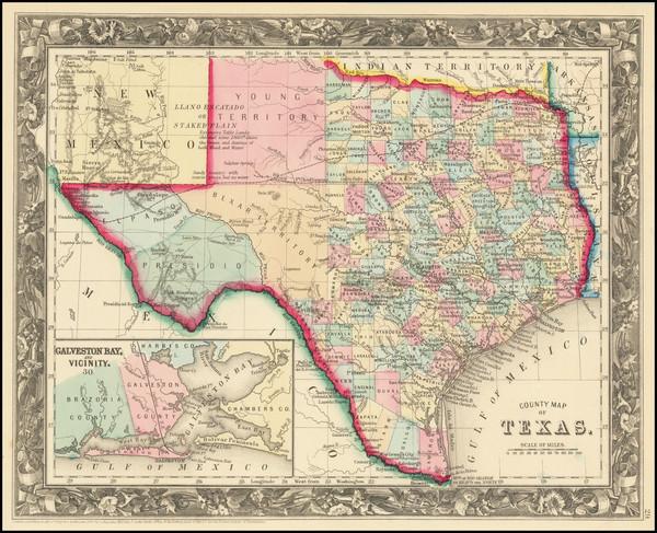 56-Texas Map By Samuel Augustus Mitchell Jr.
