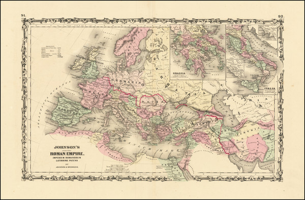 42-Europe, Italy and Mediterranean Map By Alvin Jewett Johnson  &  Ross C. Browning