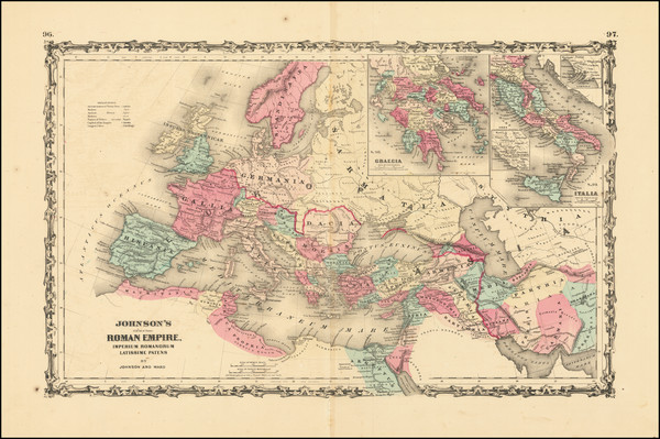 4-Europe, Italy and Mediterranean Map By Alvin Jewett Johnson  &  Benjamin P Ward