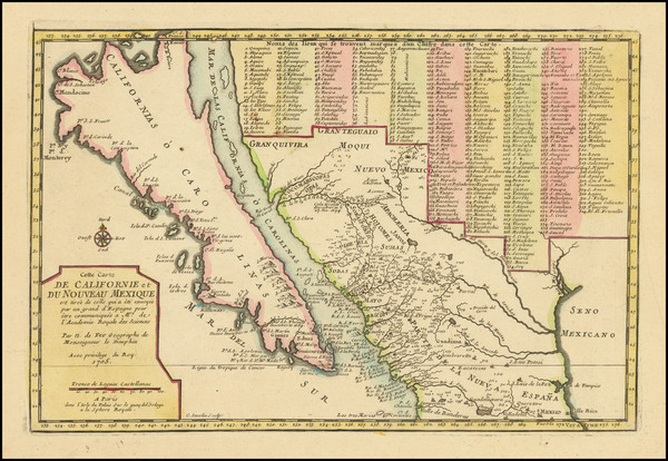27-Baja California, California and California as an Island Map By Nicolas de Fer