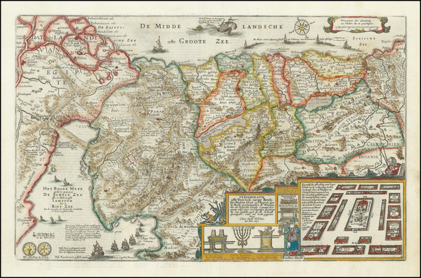 63-Holy Land Map By Claes Janszoon Visscher