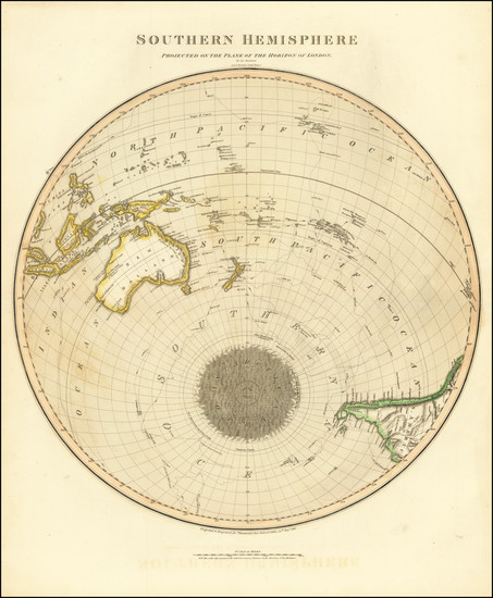 77-Southern Hemisphere, Polar Maps, Australia and Oceania Map By John Thomson