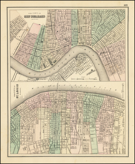 85-Louisiana, Missouri and New Orleans Map By O.W. Gray