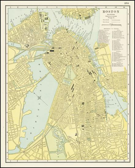 47-Boston Map By George F. Cram