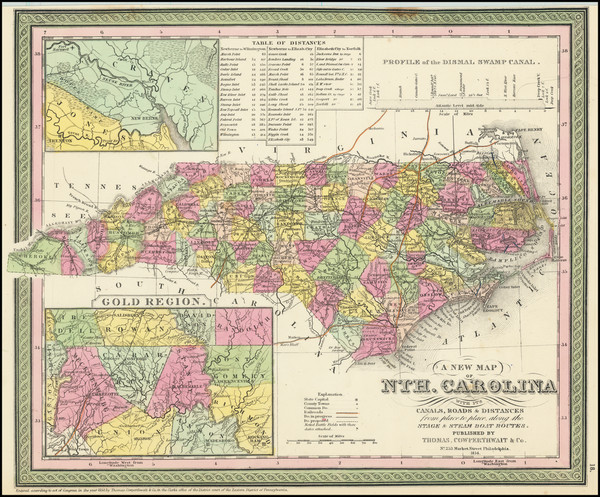26-North Carolina Map By Thomas, Cowperthwait & Co.