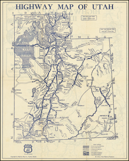 32-Utah, Idaho and Utah Map By Highway Map Company