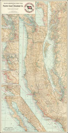 87-Oregon, Washington, Alaska, Baja California, California and British Columbia Map By Pacific Coa