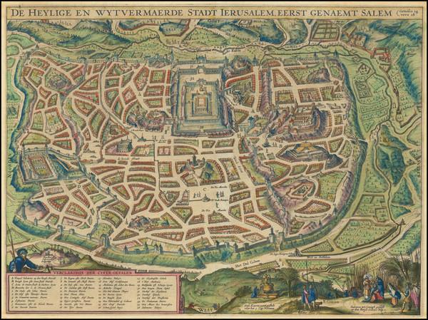 68-Holy Land and Jerusalem Map By Jacob Savry