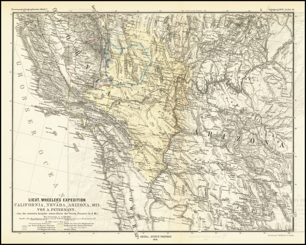 56-Arizona, Utah, Nevada, Utah and California Map By Augustus Herman Petermann