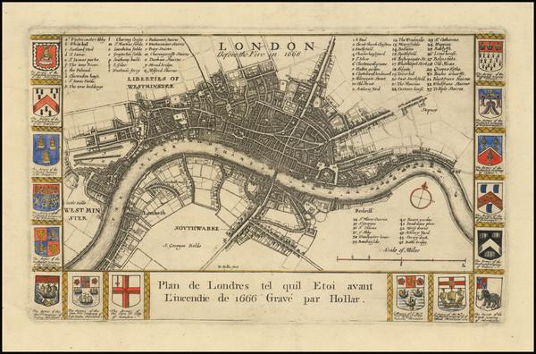 45-London Map By Richard Blome / Wenceslaus Hollar