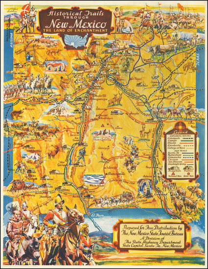 27-New Mexico and Pictorial Maps Map By Wilfred Stedman