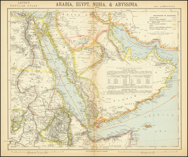 77-Middle East and Arabian Peninsula Map By Letts, Son & Co. Limited