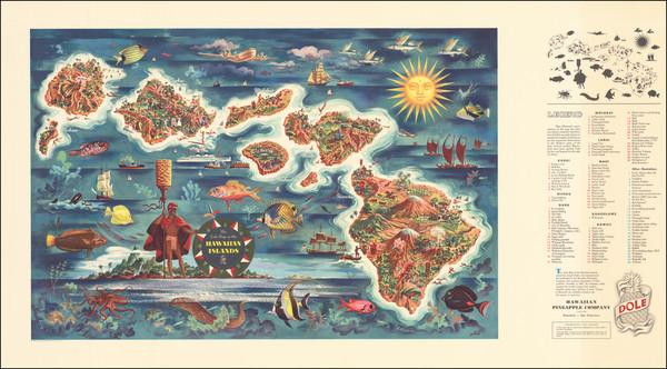 15-Hawaii, Hawaii and Pictorial Maps Map By Hawaiian Pineapple Company