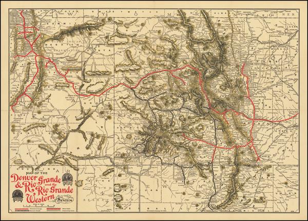 78-Colorado, Utah, New Mexico, Colorado and Utah Map By American Bank Note Company