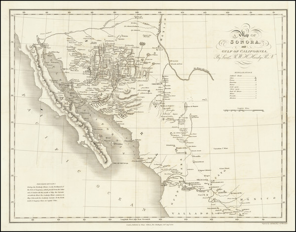 9-Texas, Arizona, New Mexico, Mexico and Baja California Map By Robert William Hale Hardy