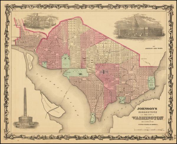 29-Washington, D.C. Map By Alvin Jewett Johnson  &  Benjamin P Ward