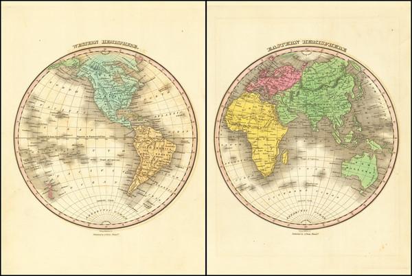 63-World, Eastern Hemisphere and Western Hemisphere Map By Anthony Finley