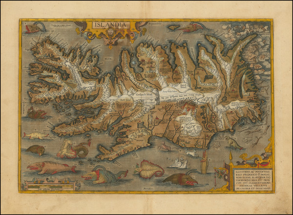28-Iceland Map By Abraham Ortelius