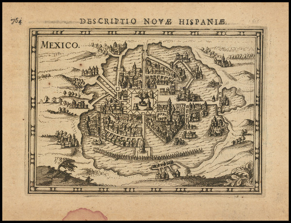 67-Mexico Map By Petrus Bertius