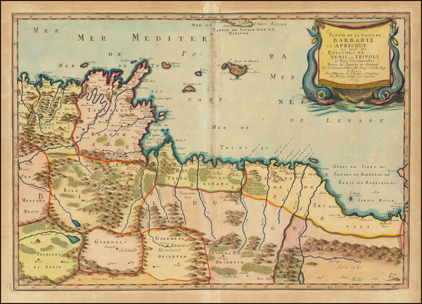 45-North Africa Map By Nicolas Sanson