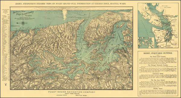 30-Washington and Canada Map By Puget Sound Navigation Company