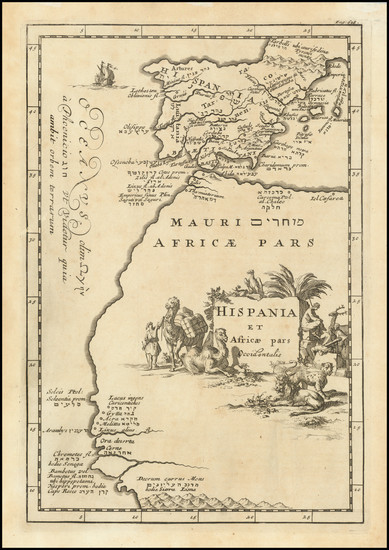 74-Spain and North Africa Map By Samuel Bochart