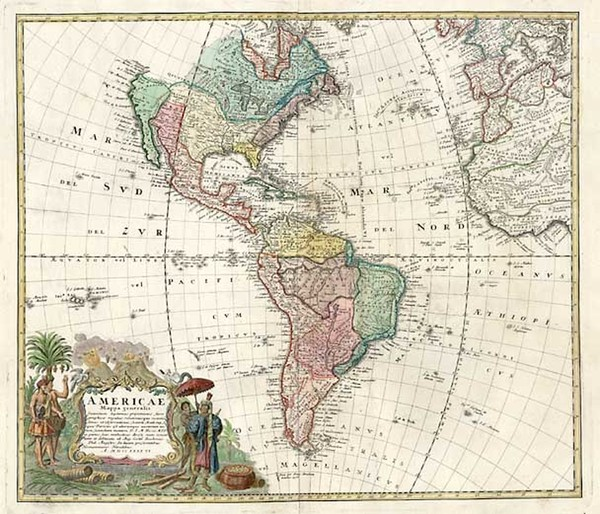 75-World, Western Hemisphere, South America and America Map By Homann Heirs