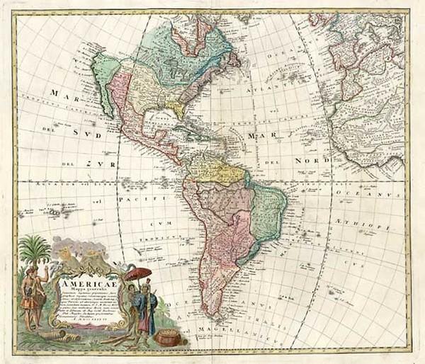 37-World, Western Hemisphere, South America and America Map By Homann Heirs
