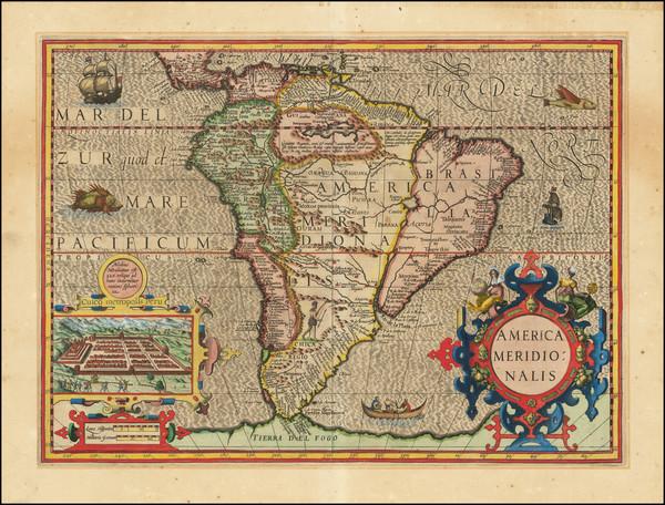 43-South America Map By Jodocus Hondius