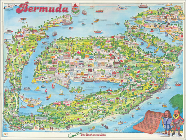 74-Bermuda and Pictorial Maps Map By Bing Chapelle