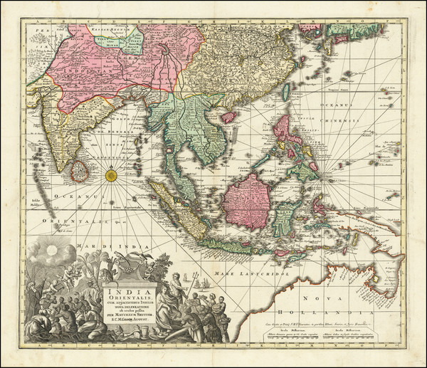 71-India, Southeast Asia, Philippines and Australia Map By Matthaus Seutter